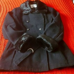 Faux Fur Collar Cuff Wool Coat